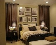 use curtains to frame the bed and love the pic collage
