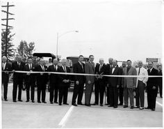 Ribbon cutting at the Grand Opening of the Hollywood Freeway, July 7, 1962. Weddington Family Collection.