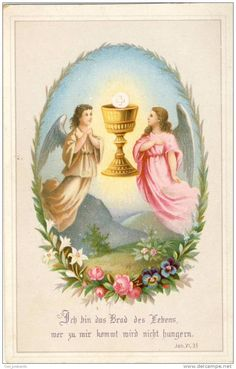 Angels adoring the Eucharist holy card