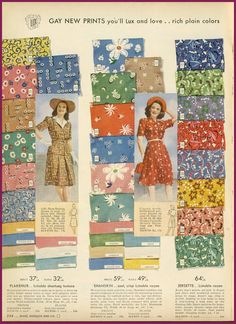 Sears catalog, summer 1943 fabric
