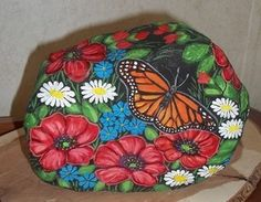 Hand Painted Rock Butterfly in A Garden Original by KY Artist | eBay