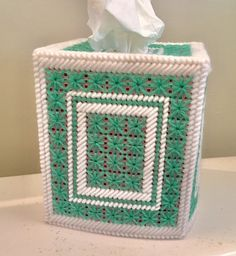 Excited to share this item from my shop: Shoreline Green Pretty Tissue Box Cover Plastic Canvas Tissue Boxes, Plastic Canvas Crafts, Plastic Canvas Patterns, Monster High Custom, Crochet Humor, Canvas Designs, Polymer Clay Charms, Monster High Dolls, Bargello