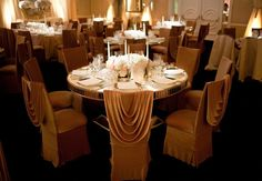 Glam brides take note, these golden velour draped chairs