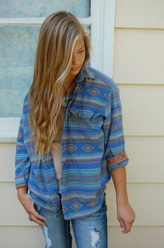 Vintage southwestern cotton SHIRT  womens clothing by zasra