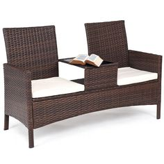 oldzon Patio Rattan Chat Set Seat Sofa Loveseat Table Chairs Conversation Cushioned with Ebook Balcony Table And Chairs, Outdoor Chairs, Arm Chairs, Dining Chairs, Rattan Chairs, Blue Chairs, Lounge Chairs, Wicker, Brown Cushion Covers