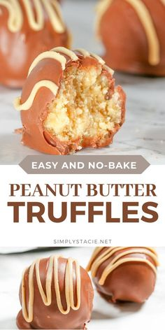 Peanut Butter Truffles - So easy to make that even the kids can help! These bite sized morsels of sweetness are so addictive. Easy No Bake Desserts, Easy Baking Recipes, Homemade Desserts, Delicious Desserts, Dessert Recipes, Cooking Recipes, Dessert Ideas, Peanut Butter Truffles, Peanut Butter Cookie Recipe