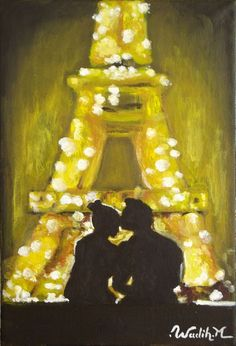 A painting showing a warm atmosphere of romance of two lovers at night . The strong light of the Eiffel tower with the contrast of light dark show the concept clearly. It's like Eiffel is gathering...