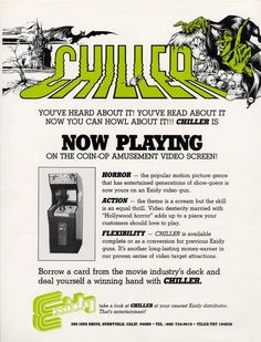 Chiller Arcade Video Game Trade Ad (Exidy 1986) Vintage Video Games, Arcade, Entertaining, Reading, Design, Reading Books, Funny