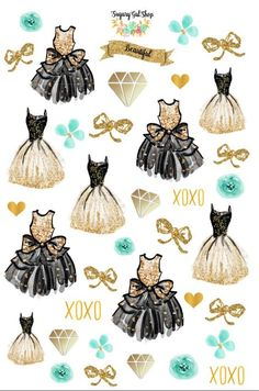 Glam Dress Teal Planner Sticker Set 3 by SugaryGaLShop on Etsy: