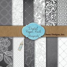 Grayscale Digital Paper Pack