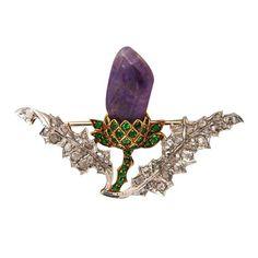 Vintage Victorian 14k Gold Silver Rose Diamond Demantoid Garnet Amethyst Pin | eBay