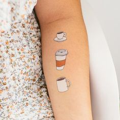 Wake up! Julia Rothman's latest temporary tattoo is an homage to our favorite caffeinated drink (that isn't tea). Each sheet comes with four different serving options, for each time you need a refill. Head Tattoos, Mini Tattoos, Love Tattoos, Body Art Tattoos, Tatoos, Sick Tattoo, Temp Tattoo, Permanent Tattoo, Temporary Tattoo