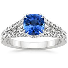 Platinum Sapphire Riviera Diamond Ring (1/3 ct. tw.) ($4,660) ❤ liked on Polyvore featuring jewelry, rings, platinum rings, diamond jewelry, sapphire rings, platinum jewellery and sapphire jewellery