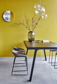 yellow wall with pure dining table with contemporary stools. Montis | Mick dining chair | Inspiration