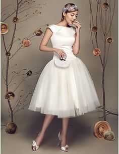 Princess Petite / Plus Sizes Wedding Dress - Ivory Knee-length Bateau Satin / Tulle 2016 – $79.99