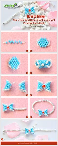Tutorial on How to Make Chic 2-Hole Seed Beads Bow Bracelet with Pearl and Glass Beads from LC.Pandahall.com