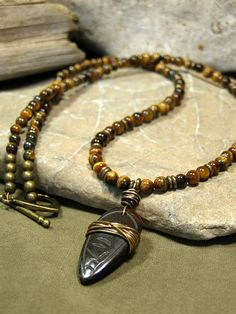 Mens Necklace - Beaded Necklace - Tiger Eye Gemstones - Mens Jewelry - Carved Bone Pendant - Native Tribal Like beaded lace, but with smaller beads Mens Beaded Necklaces, Men Necklace, Tribal Necklace, Chakra Necklace, Chakra Jewelry, Necklace Ideas, Gemstone Necklace, Beaded Jewelry Designs, Beaded Jewellery