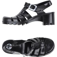 Juju Sandals ($51) ❤ liked on Polyvore featuring shoes, sandals, black, buckle sandals, rubber sole sandals, black buckle shoes, rubber sole shoes and round toe shoes