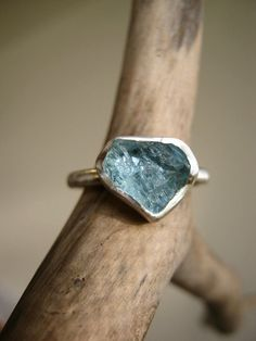 Custom select your Rough Aquamarine ring - Sterling silver. $96.00, via Etsy.