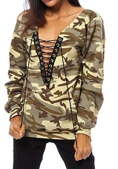 YUNY Womens Crew Neck Long-Sleeve Pullover Trendy Camouflage Color Shirt Grey XS