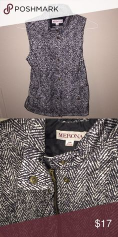 Black/white Vest 100% polyester.  The vest zippers and buttons. Merona Jackets & Coats Vests