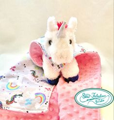 Super cuddly toddler gift for that special little one| Cozy Minky-flannel lovey blanket custom fit for this plush unicorn | a unique gift your little one will treasure for many years to come!