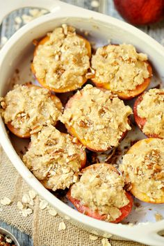 Streusel Topped Baked Peaches