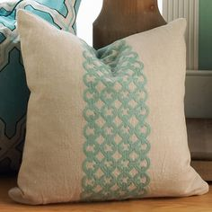 Aqua Embroidered Trellis Stripe on Sand Linen Accent Pillow