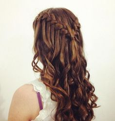 21 Gorgeous Homecoming Hairstyles for All Hair Lengths Curly Long Hairstyles with Waterfall Braid - Homecoming Long Hairstyles French Braid Hairstyles, Long Face Hairstyles, Dance Hairstyles, African Hairstyles, Braided Hairstyles, Trendy Hairstyles, Teenage Hairstyles, Gorgeous Hairstyles, Updo Hairstyle