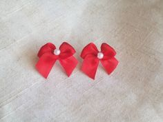Red Bow Earrings Christmas Bow Posts Red Bows with by JypsyJewels