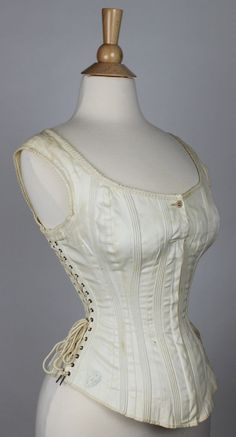 Lacing on both sides,none in back.,Antique Comfort Corset, Side Lacing Maternity, Sports or Riding Corset 1875-1885