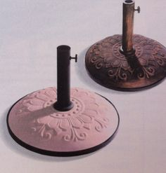 Purchase 4 of these, fit with common plumbing pipe into a square and hang lights around patio