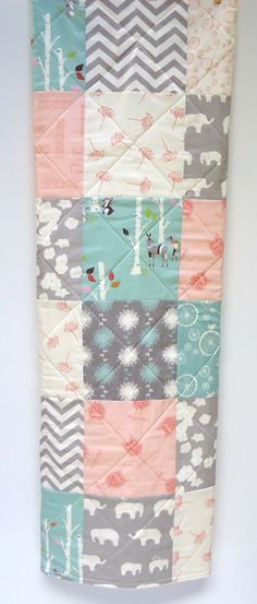 Modern Baby Girl Quilt-Organic Birch by NowandThenQuilts on Etsy