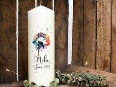 Taufkerze Kerze zur Taufe Pusteblume mit Name wk24