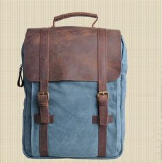 Genuine Cow Leather Bag Canvas Bag / Backpack Leather Briefcase / Leather Messenger Bag / 14' 15' MacBook / Laptop Bag (1820-2)
