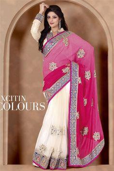Stylish Off White, Hot Pink Jacquard, Net Saree
