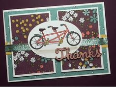 Pedal Pusher Stamp with Wildflower Fields Paper and Expression Natural Elements Sale-A-Bration Card using Mojo Monday #mojo440 with Video using Stampin' Up! Products #stampinup for full details please visit my blog http://ellenthehappystamper.blogspot.com.au