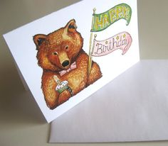 Grizzly Bear Happy Birthday Card by LaurajeanLaurajean on Etsy, $5.00