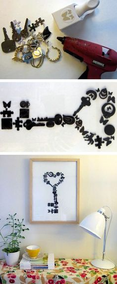 DIY Wall Art- clean out that junk drawer, paint everything (I think monochromatic looks best), decide on a shape/image, mount on watercolor paper and frame. - The Frugal Female