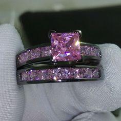 Sz 5-10 Princess Cut Pink sapphire 10kt black Gold Filled Wedding Ring set gift in Rings | eBay