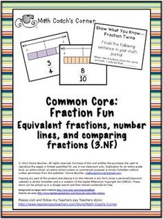 Fraction Cards for Benchmarks of 0, 1/2, and 1 with Activities.  Three activities in one to help kids develop benchmarks for 0, 1/2, and 1, compare fractions, and explore equivalent fractions.    File includes 88 fraction cards (denominators to 12) with a pictorial including a number line showing 0, 1/2, 1 for continuous reinforcement of the benchmarks. Cards are formatted for easy cutting.