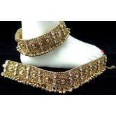 golden-oxidized-kundan-lehnga-sarisuit-heavy-bell-anklet-payal