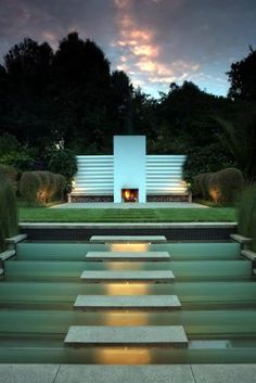 a waterfall walkway and minimalist outdoor fireplace! Landscape Elements, Garden Landscape Design, Landscape Architecture, Landscape Designs, Contemporary Landscape, Interior Exterior, Exterior Design, Outdoor Spaces, Outdoor Living