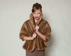 RESERVED Vintage 1950s Mink Fur Stole Emba Autumn Haze Wrap Winter Bridal Fashions