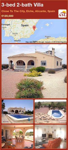 3-bed 2-bath Villa in Close To The City, Elche, Alicante, Spain ►€120,000 #PropertyForSaleInSpain