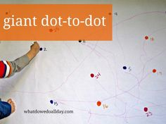 Works both fine AND gross Motor Skills together! Giant Dot-to-Dot - easy to make and do at home.