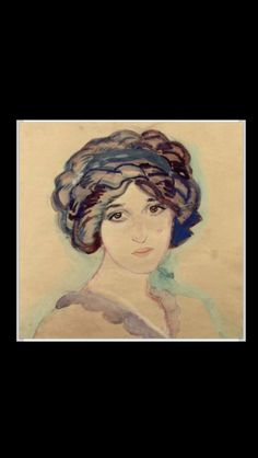 "Jan Sluijters - "" Portrait of the Artist's Wife, Greet "", c. 1909 - Chalk, watercolour and pastel on paper - 49 x 57 cm"
