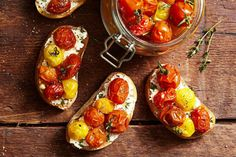 This four-ingredient confit dresses up your cocktail hour's crostini and bruschetta.On large rimmed baking sheet, toss cherry tomatoes, garlic, thyme with olive oil and teaspoon each salt and … Tomato Confit Recipe, Confit Recipes, Asparagus Recipe, Best Party Appetizers, Elegant Appetizers, Easy Appetizer Recipes, Healthy Recipes, Healthy Snacks For Kids, Easy Snacks