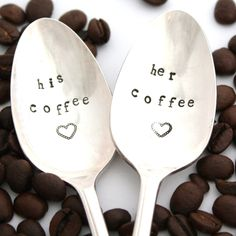 His Coffee, Her Coffee: hand stamped spoons. Unique engagement gift, boho housewares by Milk & Honey. $25.00, via Etsy.