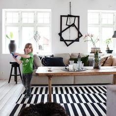 IKEA STOCKHOLM RAND vloerkleed, glad geweven 299,- Zwart/ecru. 250x350 cm.